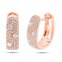 0.56ct 14k Rose Gold Diamond Huggie Earrings