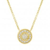 0.17ct 14k Yellow Gold Diamond Circle Necklace