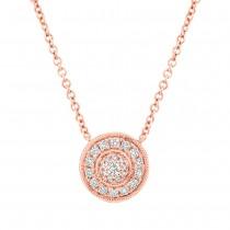 0.17ct 14k Rose Gold Diamond Circle Necklace