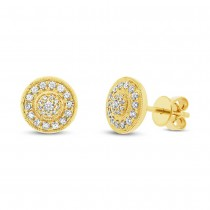 0.33ct 14k Yellow Gold Diamond Circle Earrings