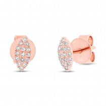 0.07ct 14k Rose Gold Diamond Pave Stud Earrings