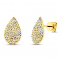 0.44ct 14k Yellow Gold Diamond Pave Earrings