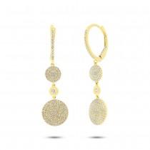 0.57ct 14k Yellow Gold Diamond Pave Circle Earrings