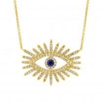 0.30ct Diamond & 0.07ct Blue Sapphire 14k Yellow Gold Eye Necklace