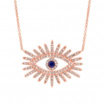 0.30ct Diamond & 0.07ct Blue Sapphire 14k Rose Gold Eye Necklace