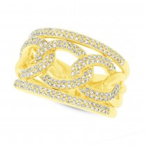 0.61ct 14k Yellow Gold Diamond Lady's Link Ring