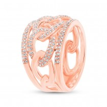 0.61ct 14k Rose Gold Diamond Lady's Link Ring