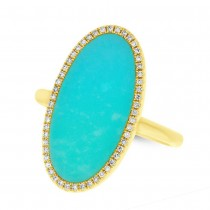 0.12ct Diamond & 2.40ct Composite Turquoise 14k Yellow Gold Lady's Ring
