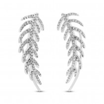 0.30ct 14k White Gold Diamond Feather Ear Crawler Earrings
