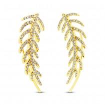 0.30ct 14k Yellow Gold Diamond Feather Ear Crawler Earrings