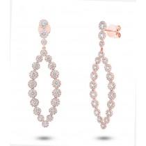 2.95ct 14k Rose Gold Diamond Earrings