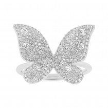 0.72ct 14k White Gold Diamond Butterfly Lady's Ring