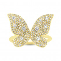 0.72ct 14k Yellow Gold Diamond Butterfly Lady's Ring|escape