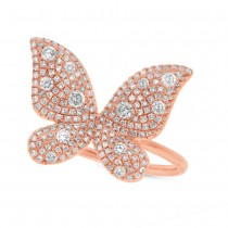 0.72ct 14k Rose Gold Diamond Butterfly Lady's Ring