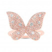 0.72ct 14k Rose Gold Diamond Butterfly Lady's Ring|escape