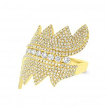 1.28ct 14k Yellow Gold Diamond Pave Lady's Ring