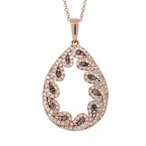 0.96ct 14k Rose Gold White & Champagne Diamond Pendant Necklace