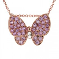 0.01ct Diamond & 0.38ct Pink Sapphire 18k Rose Gold Butterfly Pendant Necklace