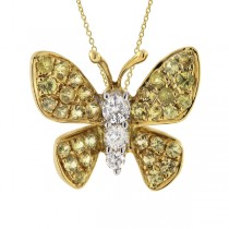 0.07ct Diamond & 0.24ct Yellow Sapphire 18k Yellow Gold Butterfly Pendant Necklace