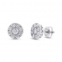 1.43ct 14k White Gold Diamond Cluster Earrings