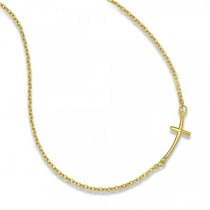 Small Sideways Curved Cross Pendant Necklace in 14k Yellow Gold