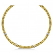 Diamond Accented Mesh Necklace 14k Two Tone Gold (0.05ct)