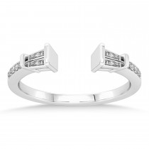 Diamond Accented Open Shank Wedding Band 14k White Gold (0.34 ctw)