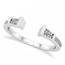 Diamond Accented Open Shank Wedding Band 18k White Gold (0.34 ctw)