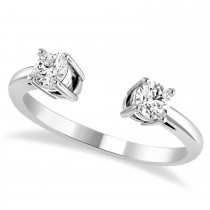 Round-Cut Diamond Open Shank Ring 14k White Gold (0.34 ctw)