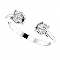 Round-Cut Diamond Open Shank Wedding Band Platinum (0.34 ctw)