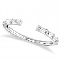 Baguette-Cut Diamond Open Shank Wedding Band 14k White Gold (0.32 ctw)