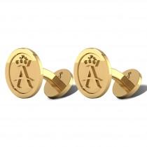 Allurez A Crown Cuff Links 14k Yellow Gold