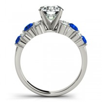 Blue Sapphire & Diamond Engagement Ring 14K White Gold (0.66ct)