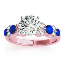 Blue Sapphire & Diamond Engagement Ring 18K Rose Gold (0.66ct)