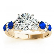 Blue Sapphire & Diamond Engagement Ring 18K Yellow Gold (0.66ct)