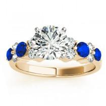 Garland Blue Sapphire & Diamond Engagement Ring 18K Yellow Gold (0.66ct)