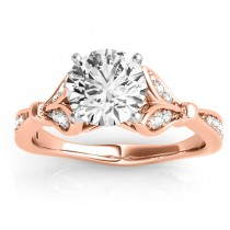 Diamond Accented Tulip Engagement Ring Setting 14K Rose Gold (0.21ct)