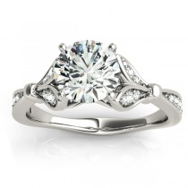 Diamond Accented Tulip Engagement Ring Setting 14K White Gold (0.21ct)