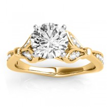 Diamond Accented Tulip Engagement Ring Setting 18K Yellow Gold (0.21ct)
