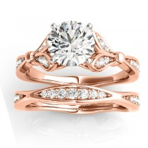 Diamond Accented Tulip Bridal Set 14K Rose Gold (0.38ct)
