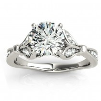 Diamond Accented Tulip Bridal Set Setting 14K White Gold (0.38ct)|escape
