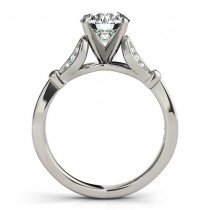 Diamond Accented Tulip Bridal Set Setting 14K White Gold (0.38ct)