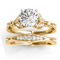Diamond Accented Tulip Bridal Set 14K Yellow Gold (0.38ct)