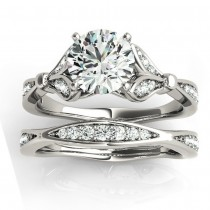Diamond Accented Tulip Bridal Set 18K White Gold (0.38ct)