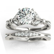 Diamond Accented Tulip Bridal Set Palladium (0.38ct)