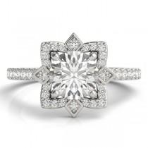 Diamond Royal Halo Engagement Ring Setting 14K White Gold (0.31ct)