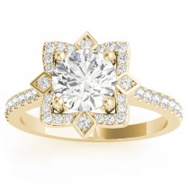 Diamond Royal Halo Engagement Ring Setting 14K Yellow Gold (0.31ct)