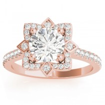 Diamond Accented Royal Halo Engagement Ring Setting 18K Rose Gold (0.31ct)