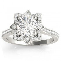 Diamond Royal Halo Engagement Ring Setting 18K White Gold (0.31ct)