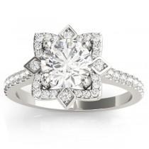 Diamond Royal Halo Engagement Ring Setting 18K White Gold (0.31ct)